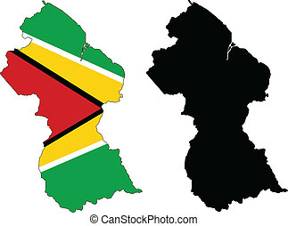 Guyana - Vector illustration map and flag of Guyana.