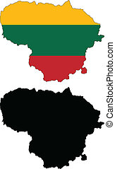 Lithuania - Vector illustration map and flag of Lithuania.