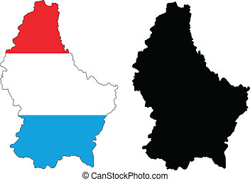 Luxembourg - Vector illustration map and flag of Luxembourg.