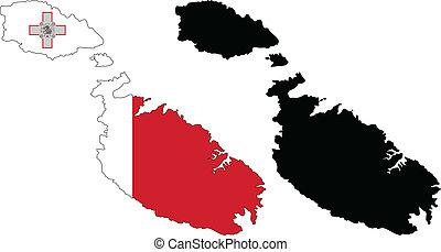 Malta - Vector illustration map and flag of Malta.