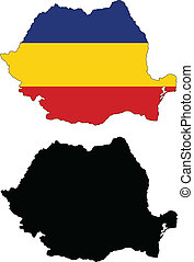 Vector illustration map and flag of Romania.