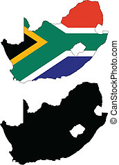 Vector illustration map and flag of South Africa.