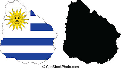 Uruguay - Vector illustration map and flag of Uruguay.