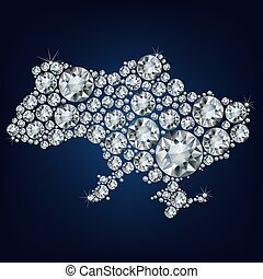 map of Ukraine made from diamonds