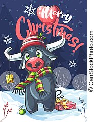 Vector background illustration Marry Christmas cartoon bull in night. For print on demand, powerpoint and keynote presentations, advertisements and commercials, magazines and newspapers, book covers.