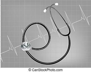 Vector illustration - medical background, stethoscope ...