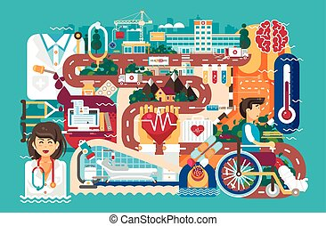 Vector illustration medicine health care of patient wheelchair medical insurance treatment illness recovery doctor nurse ambulance road hospital pharmacy polyclinic in flat style blue background