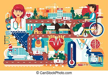 Vector illustration medicine health care of patient wheelchair medical insurance treatment illness recovery doctor nurse ambulance road hospital pharmacy polyclinic flat style orange background
