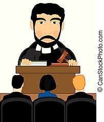 Vector illustration men to judges in courtroom