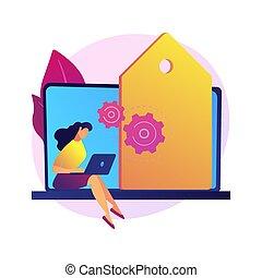 vector, illustration., mercadotecnia, concepto, pp de drive...