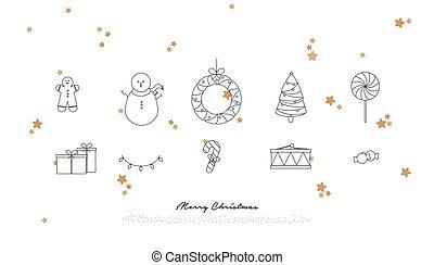 Vector Illustration. Merry Christmas greeting card.