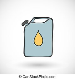 vector, illustration., metal, gasolina, aceite, bote, icon., o