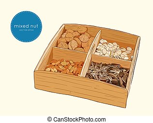 Vector illustration mix of different types nuts. almond,...