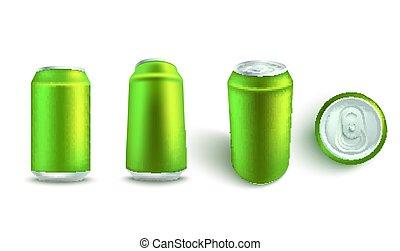 Vector illustration mockup set of blank green aluminum soda or beer can.
