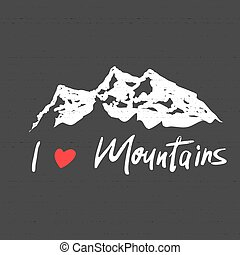 Vector illustration: Modern brush lettering of Mountains with Hand drawn Peaks of Mountains sketch. icon logo design template. Mountain tourism, rock climbing for logotype. i love Mountains