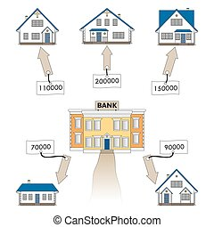 Vector illustration: mortgage loan to buy a house. Infographics: Mortgage loan as a cash flow. Buying real estate in white, blue, grey colors. Banking services for the provision of mortgage lending.