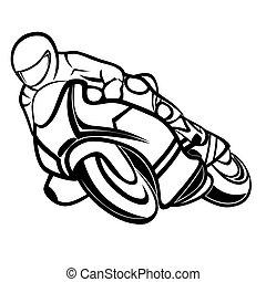 Vector illustration : Motorbike rider on a white background.