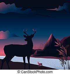 Vector illustration - Mountain landscape silhouette with Reinder in a forest nature. art. river. background