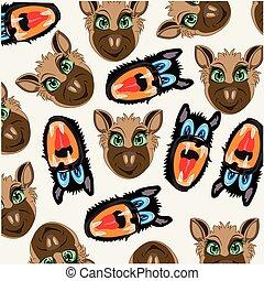 Vector illustration mug animal decorative pattern.Vector...
