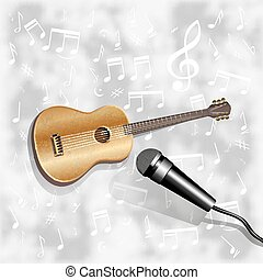 musical background with a guitar and a microphone