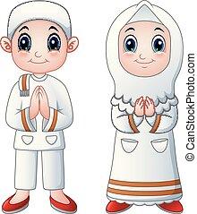 Muslim kid cartoon greeting