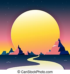 Vector illustration - nature in a Desert with the Mountain Great Scenery. Road path.  art.  background