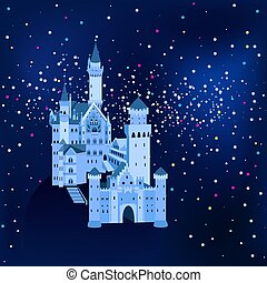 vector illustration, Neuschwanstein Castle in Germany at night