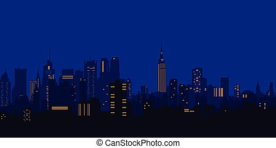 Vector illustration. Night city, houses, high-rise buildings...