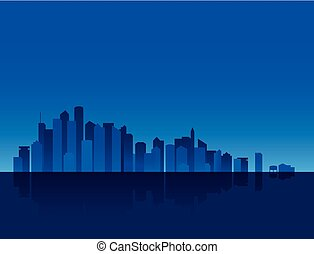 Nocturn skyline background in blue tones, with sea and sky.