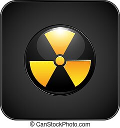 vector illustration nuclear danger icon volumetric with glare on the background of black gradient square with rounded edges with a volumetric bezel