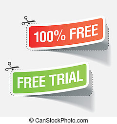100% free and free trial labels - Vector illustration of 100...