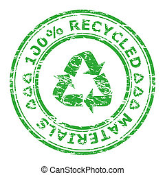Vector illustration of 100% recycled materials stamp...