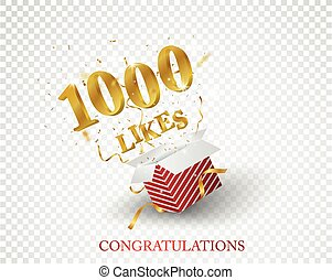 Vector Illustration of 1000 likes out of the box with gold confetti isolated on transparent background