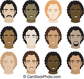 Curly Afro Men Faces - Vector Illustration of 12 different...