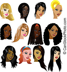 Vector Illustration of 12 Women Faces 3. Great for avatars, makeup, skin tones or hair styles of women.