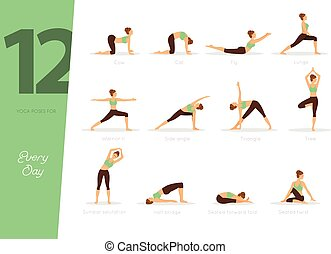 12 Yoga poses for every day - Vector illustration of 12 Yoga...