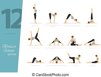 12 Yoga poses to reduce headaches - Vector illustration of...