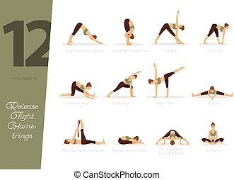 bakasana to sirsasana yoga poses set illustration