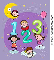 Vector illustration of 123 numbers with hand-drawn kids in the sky at night.