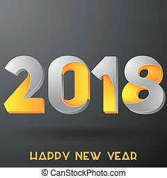 2018 Happy new year. Yellow and gray numbers design greeting card