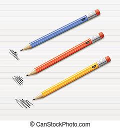 Vector illustration of 3 sharpened pencils