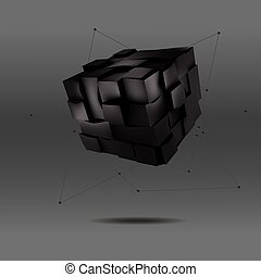 vector illustration of 3d black cube with lines and dots hanging . Abstract background for your design