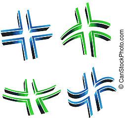 Vector illustration of 3D cross