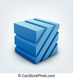 Vector illustration of 3d cube on white background
