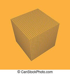 Illustration Vectorielle De Maille Filaire 3D CUBE, Illustration Polygonale.