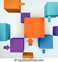 Vector illustration of 3d cubes with arrows