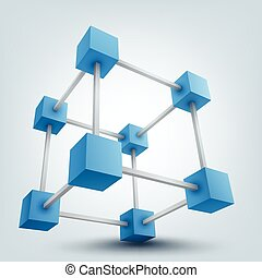 Vector illustration of 3d cubes with connections