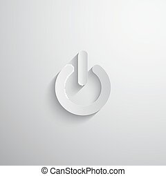 vector illustration of 3d paper  power icon with long shadow