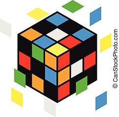 Vector illustration of 3d rubik cube with flying parts.