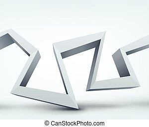 Vector illustration of 3d shape on white background